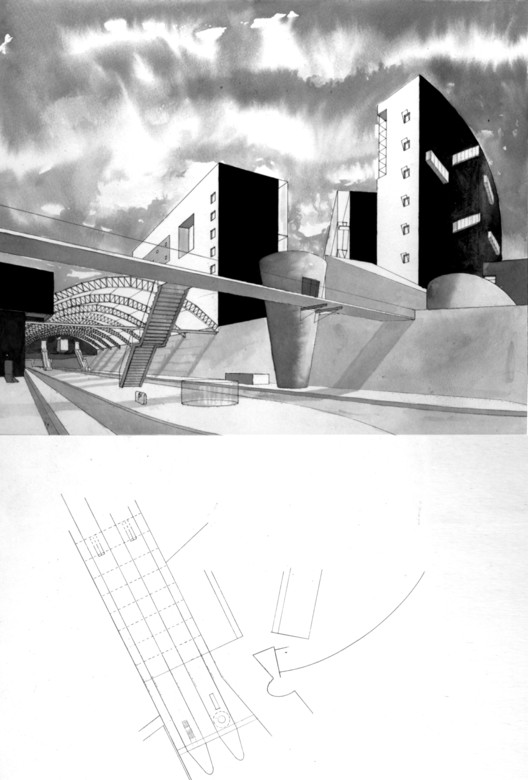 "Illustrations for the Porta Vittoria project of 1986 demonstrate a process of urban design using a series of partial-view perspectives, which were drawn a priori and cast backwards into plan fragments. These fragments were later assembled into a ""whole"" urban plan, according to a concept of centrifugal movement from heavy to light in reverse of the sprawl tendency of the current city of Milan."
