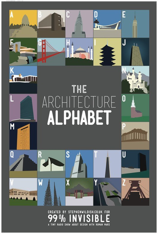 "Architecture Alphabet, designed by Stephen Wildish exclusively for the 99% Invisible Kickstarter campaign, based on his extremely popular ""alphabet"" poster series."