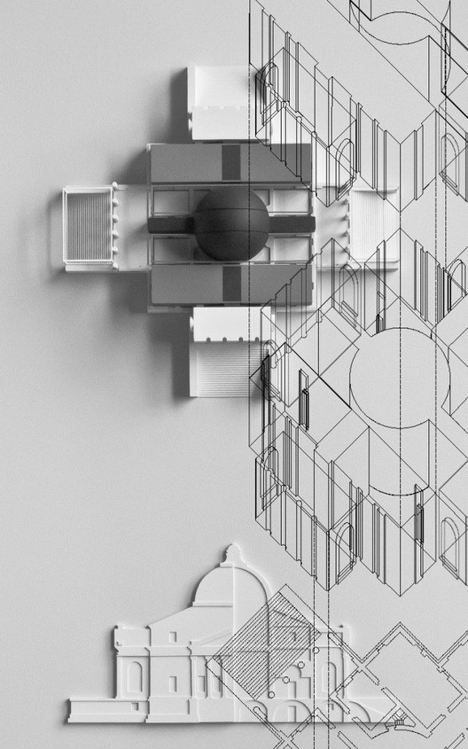 Villa Rotonda Model overlaid with axonometric / Peter Eisenman and Matt Roman