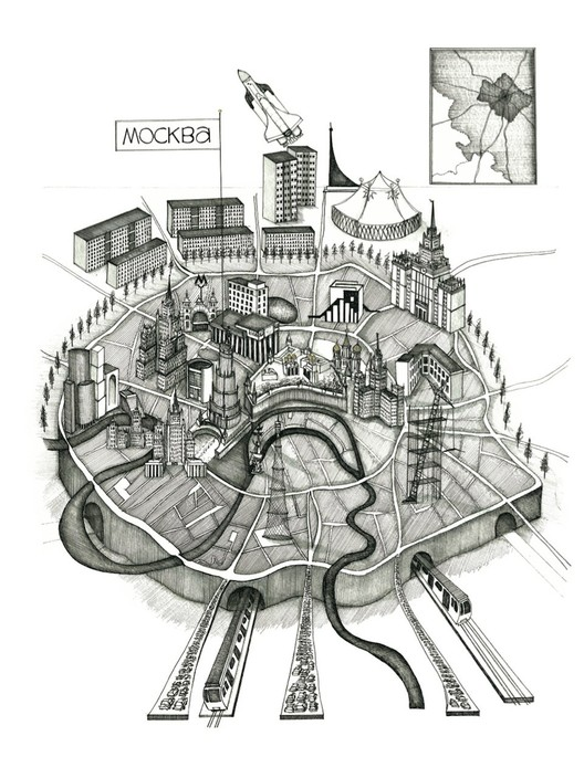 Moscow, drawing by Gibb, 2012 / Anna Gibb - Courtesy of the British Council