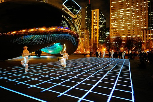 """The Luftwerk Light Installation in Chicago's Millenium Park lights up """"The Bean"""" - one of James Ramsay's inspirations for the Low Line. Photo © Milosh Kosanovich"""