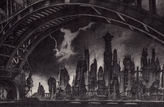 Looking west from across the Gotham River, by Anton Furst