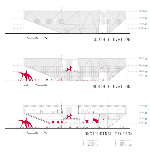 1st place / longitudinal sections and elevations / Courtesy of Shelby Ponce & Eduardo Ponce