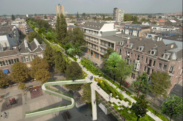 Hofbogen, a plan to turn an old elevated train track in downtown Rotterdam into a commercial strip and elevated park. Ingeniously, city heating will be integrated in the design: industrial waste heat will be used to warm the pre-war buildings along its trajectory, radically reducing their CO2 footprint.