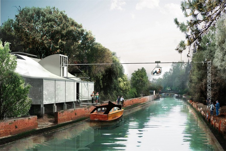 A water taxi journey around the Giardini, returning back to the Australian Pavilion via a zip line. © Richard Goodwin Pty Ltd