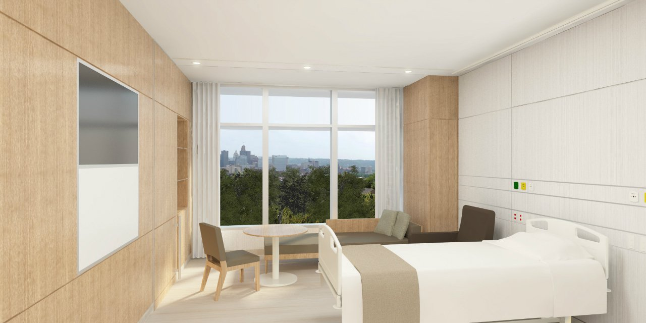 Hospital room with patient and family - Som Breaks Ground At The Christ Hospital In Cincinnati Patient Room Family Zone