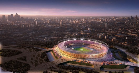 """Rendering for London's 2012 Olympic Stadium, by Populous. Budgetary concerns have changed the original material for the outer """"wrap,"""" leading The Times Critic to describe it as """"Tragically Underwhelming."""""""