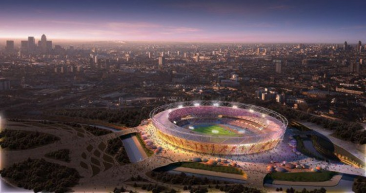 "Rendering for London's 2012 Olympic Stadium, by Populous. Budgetary concerns have changed the original material for the outer ""wrap,"" leading The Times Critic to describe it as ""Tragically Underwhelming."""