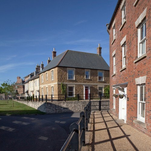 Poundbury, a sustainable town planned specifically according to Prince Charles' beliefs in livability and tradition. Photo © Andy Spain.