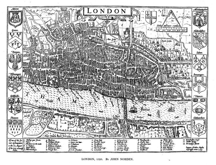 This 1676 map of London shows a broad street running East-West through the middle of London. Carolyn Steel notes that the various street names along its length, such as Cheapside, Poultry and Cornhill, indicate that it was one of London's central foodways. © <a href='https://creativecommons.org/licenses/by-sa/3.0/'>Wikimedia</a> Commons User Mike Calder. Via Ecos Magazine.