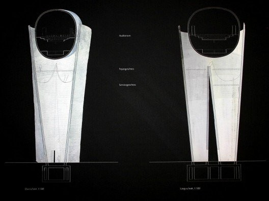 "Pritzker Prize Winner Peter Zumtho's sketch for a gate in Isny, voted against, due in part to the public conception of the work as ""Glass Underpants"""