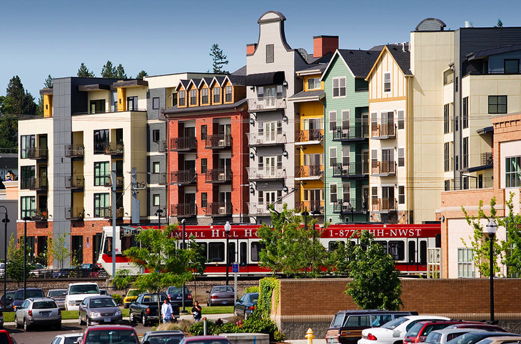 The Crossings, in Gresham, Oregon, were one of the first mixed-use, walkable developments to be built in the suburbs. Photo via the Congress for New Urbanism.