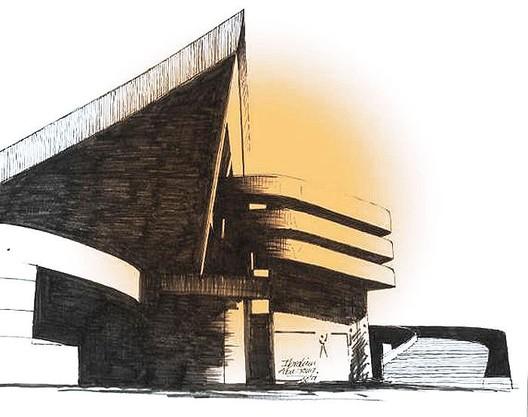 Gymnasium in Baghdad, Sketch by Le Corbusier. ©SketchPlanet
