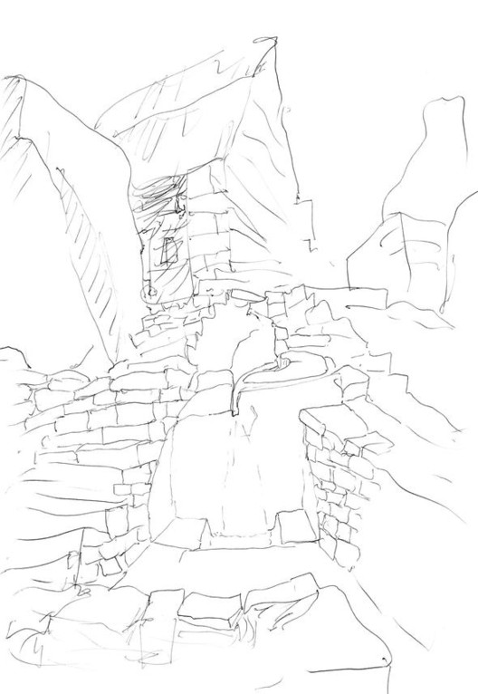© Álvaro Siza - Sketch from notebook #399, Macchu Picchu, Peru. 1995