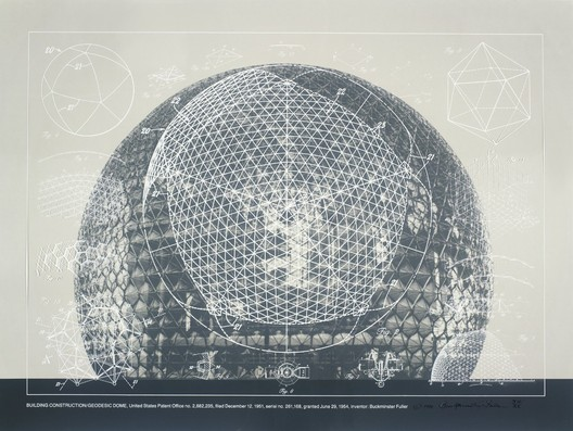 1.Buckminster Fuller and Chuck Byrne, Building Construction/Geodesic Dome, United States Patent Office no. 2,682,235, from the portfolio Inventions: Twelve Around One, 1981; screen print in white ink on clear polyester film; 30 in. x 40 in. (76.2 cm x 101.6 cm); Collection SFMOMA, gift of Chuck and Elizabeth Byrne; © The Estate of R. Buckminster Fuller, All Rights reserved. Published by Carl Solway Gallery, Cincinnati.