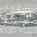 2.Buckminster Fuller and Chuck Byrne, Motor Vehicle-Dymaxion Car, United States Patent Office no. 2,101,057, from the portfolio Inventions: Twelve Around One, 1981; screen print in white ink on clear polyester film; 30 in. x 40 in. (76.2 cm x 101.6 cm); Collection SFMOMA, gift of Chuck and Elizabeth Byrne; © The Estate of R. Buckminster Fuller, All Rights reserved. Published by Carl Solway Gallery, Cincinnati.