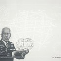 5.Buckminster Fuller and Chuck Byrne, Non-Symetrical Tension-Integrity Structures, United States Patent Office no. 3,866,366, from the portfolio Inventions: Twelve Around One, 1981; screen print in white ink on clear polyester film; 30 in. x 40 in. (76.2 cm x 101.6 cm); Collection SFMOMA, gift of Chuck and Elizabeth Byrne; © The Estate of R. Buckminster Fuller, All Rights reserved. Published by Carl Solway Gallery, Cincinnati.