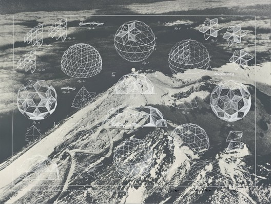 6.Buckminster Fuller and Chuck Byrne, Laminar Geodesic Dome, United States Patent Office no. 3,203,144, from the portfolio Inventions: Twelve Around One, 1981; screen print in white ink on clear polyester film; 30 in. x 40 in. (76.2 cm x 101.6 cm); Collection SFMOMA, gift of Chuck and Elizabeth Byrne; © The Estate of R. Buckminster Fuller, All Rights reserved. Published by Carl Solway Gallery, Cincinnati.