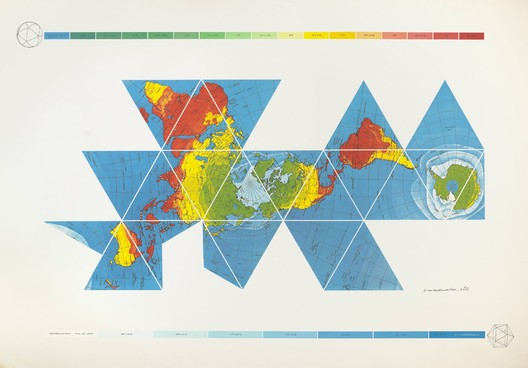 8.Buckminster Fuller and Chuck Byrne, Dymaxion Air-Ocean World Map, 1981; screen print; 50 in. x 72 in.; Collection SFMOMA, gift of Elizabeth and Carl Solway in memory of Robert Fillmore Lovett, Jr.; © The Estate of R. Buckminster Fuller, All Rights reserved