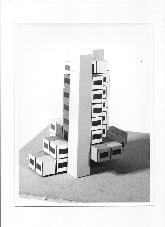 """Experimental model of the building Ludres."" - Maquette de l'immeuble expérimental de Ludres. Archives Modernes de l'Architecture Lorraine, Nancy."