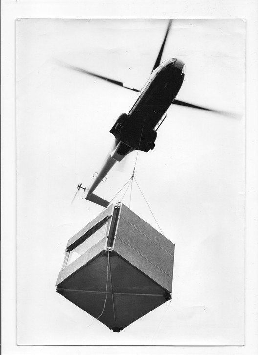 """Transport of a module for the realization of a prototype single dwelling, 1972."" - Transport d'un module pour la réalisation d'un prototype de logement individuel, 1972. Archives Modernes de l'Architecture Lorraine, Nancy."