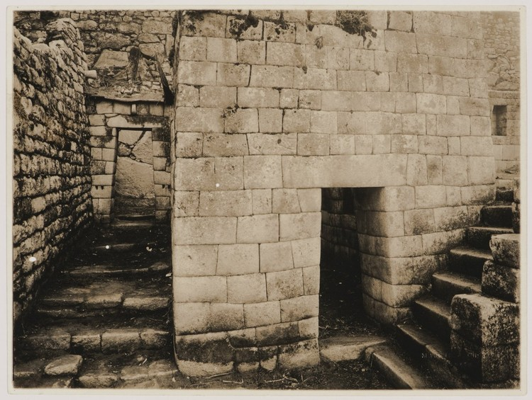 Martín Chambi, Partial view of the Ñusta Palace, showing an alley and entrance on the left and the staircase leading to the Torreón on the right, Macchu Picchu, Peru, 1927. CCA Collection. © Archivo Fotografico Martín Chambi