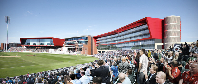 "Image from inside Old Trafford Cricket Ground, with the new Old Trafford Lodge on the right and ""The Point"" conference facilities on the left. Image Courtesy of ICA"