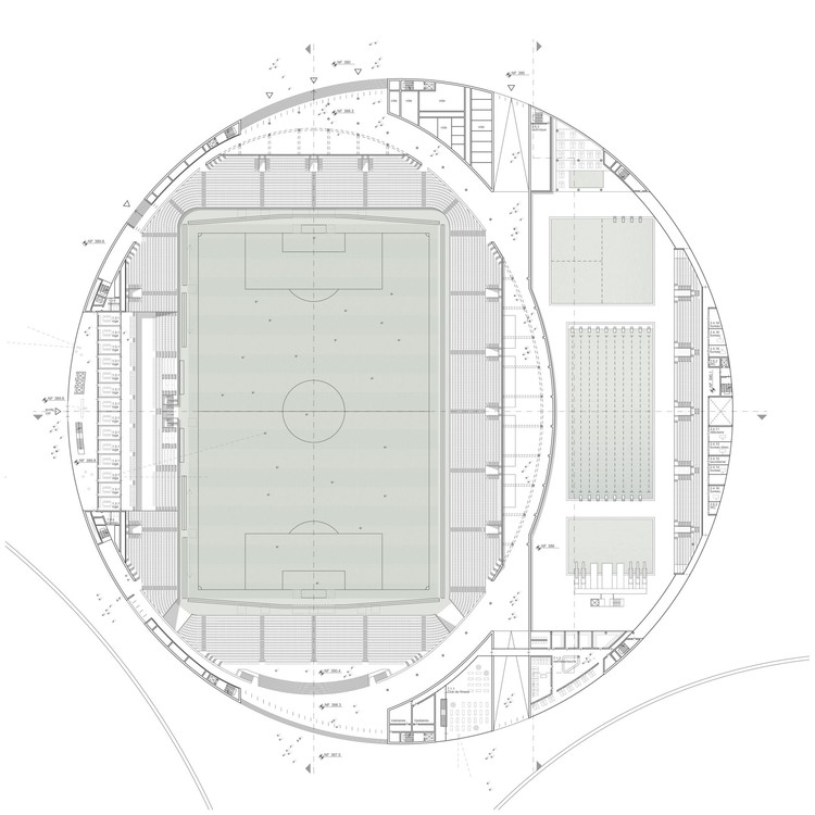 floor plan level 1, football stadium and swimming complex