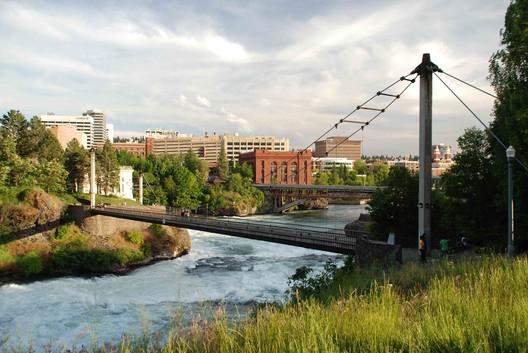 Spokane Falls against skyline