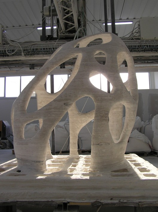 Radiolaria, a sculpture designed by Andrea Morgante and printed using Enrico Dini's D-Shape 3D Printer. Photo © Enrico Dini.