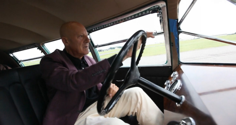 Norman Foster driving his Dymaxion Car