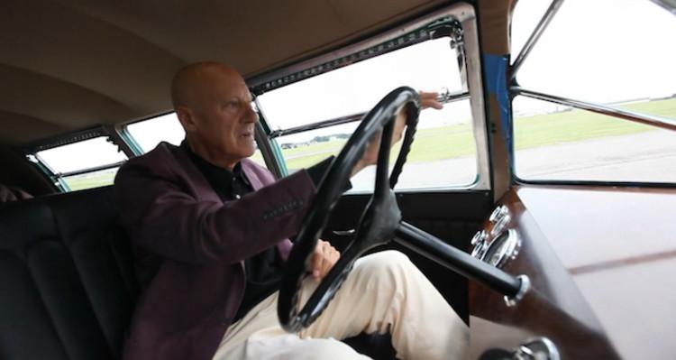 Norman Foster driving his Dymaxion Car