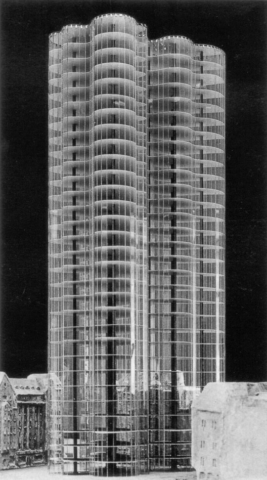 Glass Skyscraper Project Mies Van Der Rohe 1922. Photo via The Lying Truth.