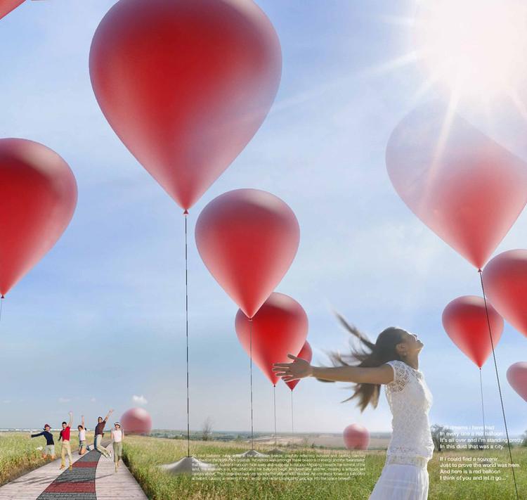 99 Red Balloons / Emeka Nnadi, Scott Rosin, Meaghan Hunter, Danielle Loeb, Kara McDowell, Indrajit Mitra, Narges Ayat, Denis Fleury; Courtesy of LAGI