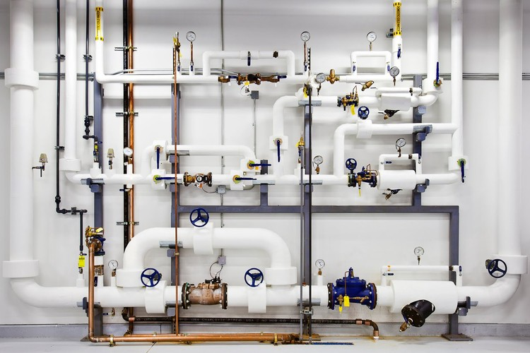 """Google keep pipes like these ready with highly-pressurized water in case of a fire. This water, in particular, is cleaned and filtered so if they use it, they don't contaminate the facility."" Photo © Google/ Connie Zhou"