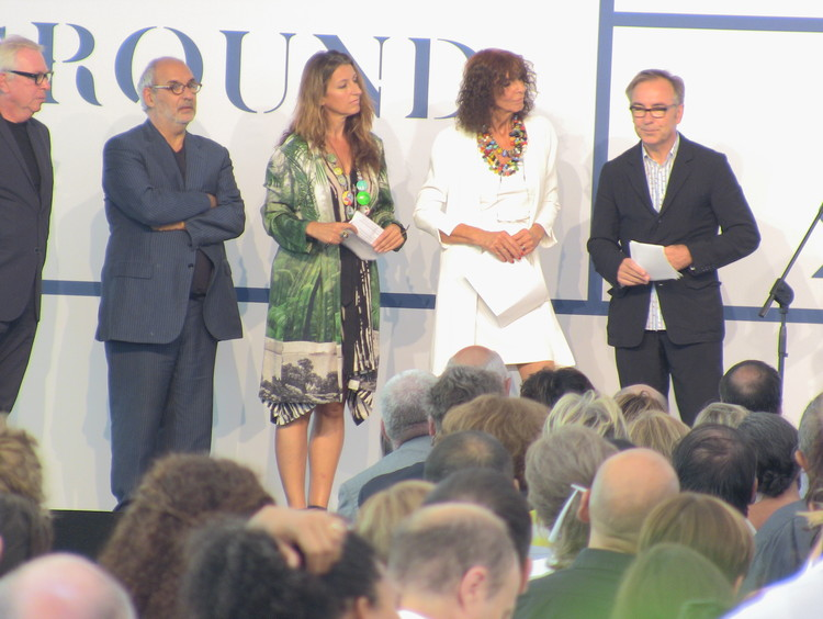 The jury of the Biennale: Kristin Feireiss, Benedetta Tagliabue, Wiel Arets, and Alan Yentob (Robert Stern was not present).