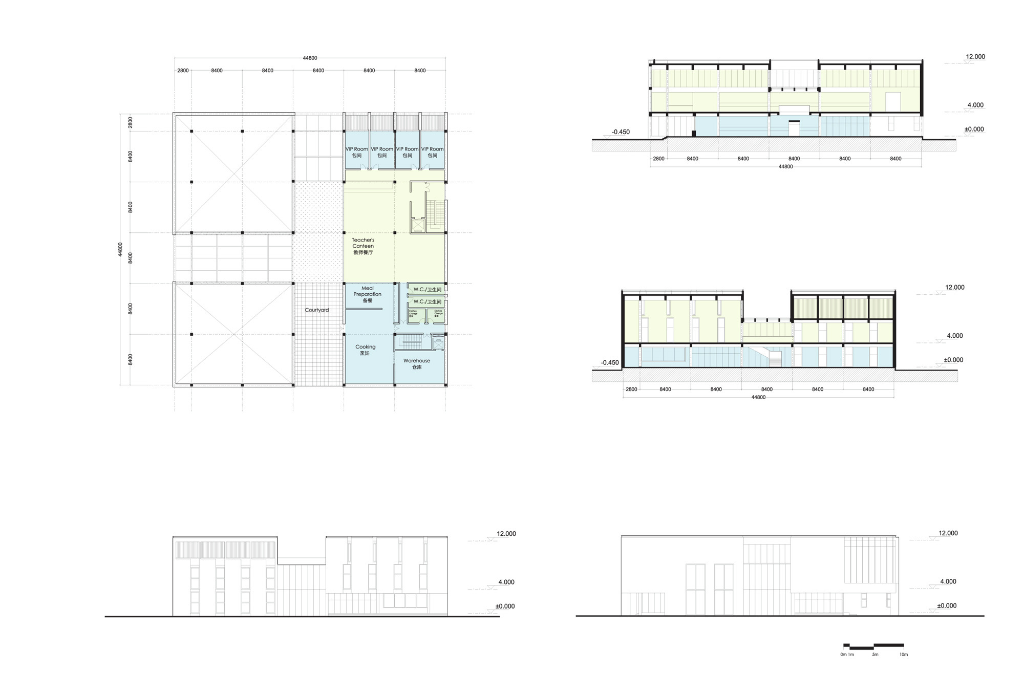 Canteen plan elevation and section