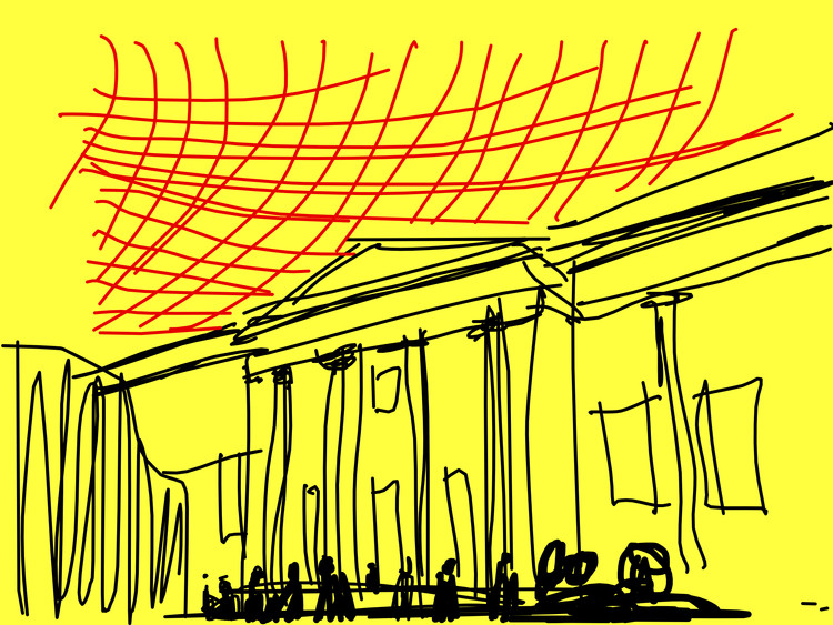 My sketch on top of a photo of the British Museum I took a few weeks ago