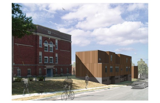 Rendering for the Bancroft School in Kansas City, Missouri. Part of a revitalization effort by the community of Manheim Park, the Make It Right Foundation, and BINM Architects.