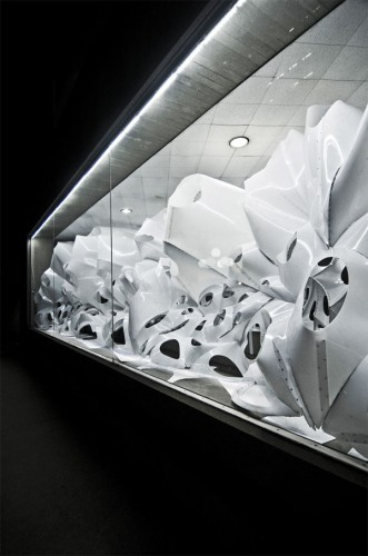 VoltaDom, a complicated installation by Skylar Tibbits, which inspired him to look into self-assembly.