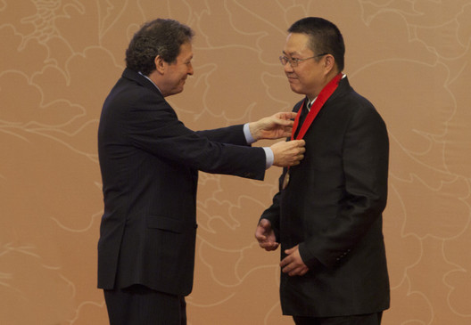 Thomas J Pritzker and Wang Shu