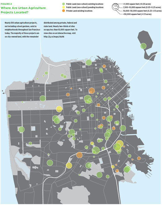 A map showing the many Urban Agriculture Projects in San Francisco, a city on the cutting-edge of Urban Ag Policy. Via SPUR.