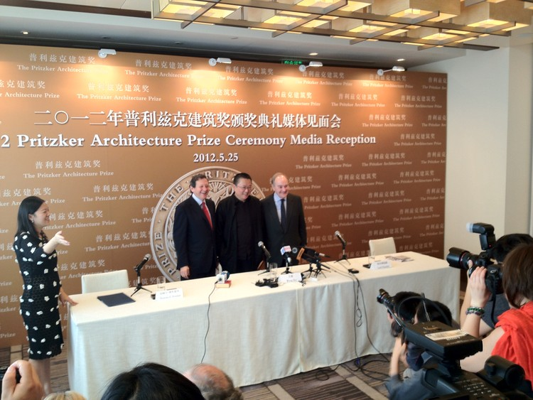 Thomas J Pritzker, Wang Shu and Lord Palumbo at the press conference