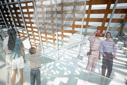 """Versatile"" Stairway - configured to display art © Shigeru Ban Architects"