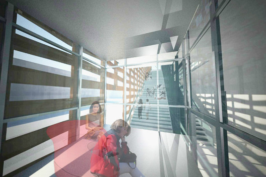 Glass Elevator - views of Aspen and of the interior © Shigeru Ban Architects