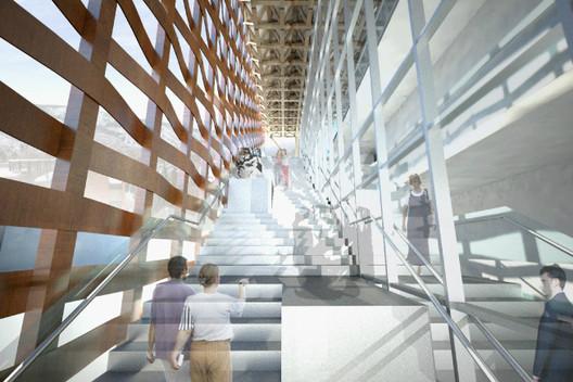Interior/Exterior Stairway - access to roof deck sculpture garden © Shigeru Ban Architects