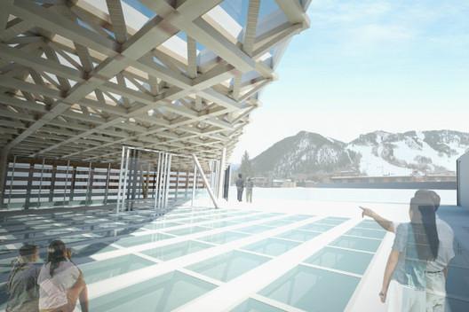 View of Aspen Mountain from Roof Deck Sculpture Garden © Shigeru Ban Architects