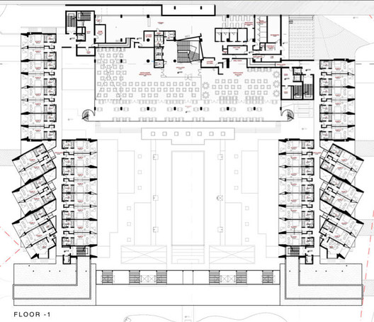 yellow hotel plan associated architects archdaily