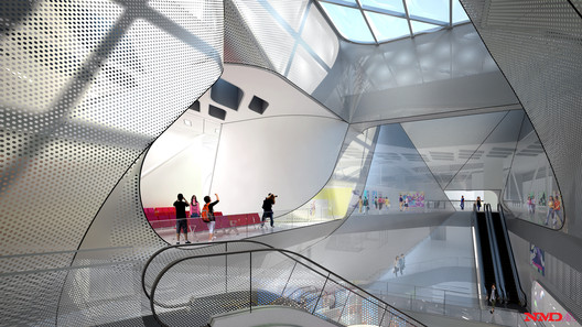 3F Terminal Central Atrium - Courtesy of Neil M. Denari Architects