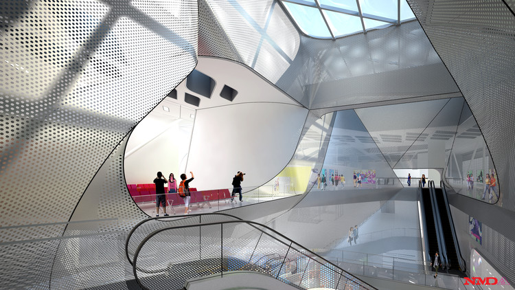3F Terminal Central Atrium - Courtesy of Neil M. Denari Architects